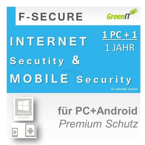 F-Secure Internet Security + Mobile Security 1 PC GreenIT 1 Jahr Limited Edition für aktuelle Version 2017