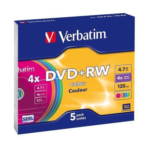 Verbatim DVD+RW 5 Colours * 4.7GB/4x/5er Pack S...