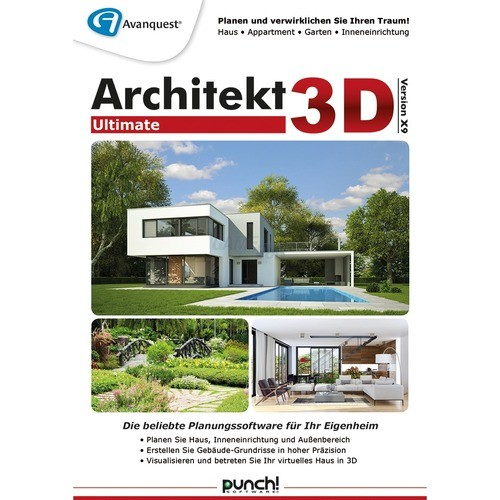 punch software architekt 3d x9 ultimate 1 pc vollversion esd downl game and fun shop. Black Bedroom Furniture Sets. Home Design Ideas