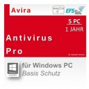 Avira AntiVirus Pro 5 PCs Vollversion EFS PKC 1 Jahr für aktuelle Version 2016