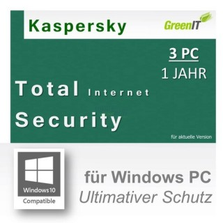 Kaspersky Total Internet Security for Windows 3 PCs Vollversion GreenIT 1 Jahr