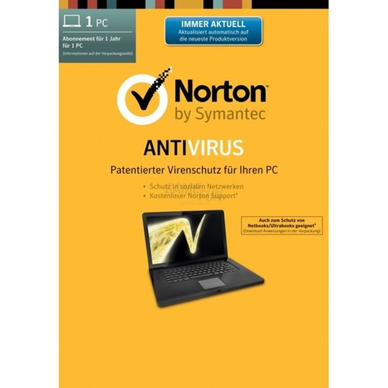 Symantec Norton Antivirus 21.0 SB 1 PC Vollversion EFS DVD 1 Jahr inkl. Update auf Version 22.0