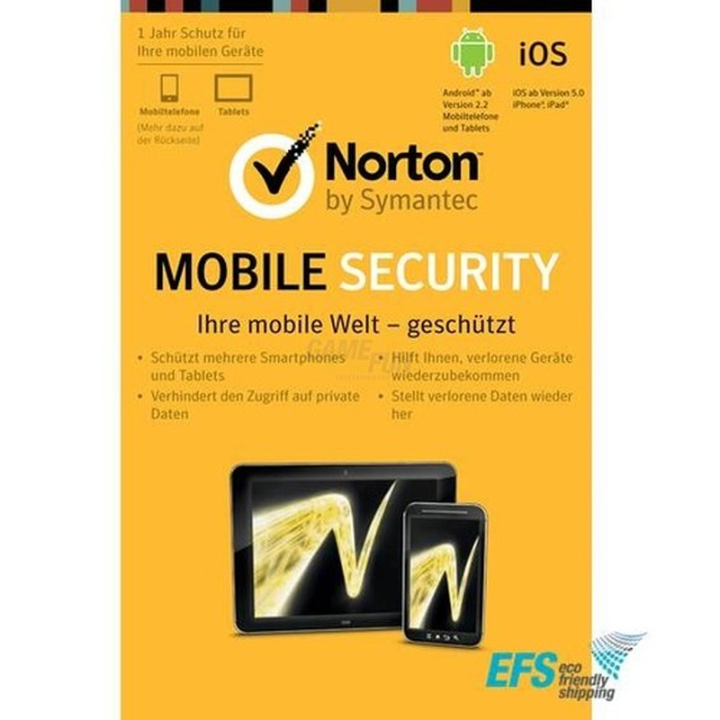Symantec Norton Mobile Internet Security 3.0 for Android & iOS 1 Benutzer Vollversion EFS PKC 1 Jahr