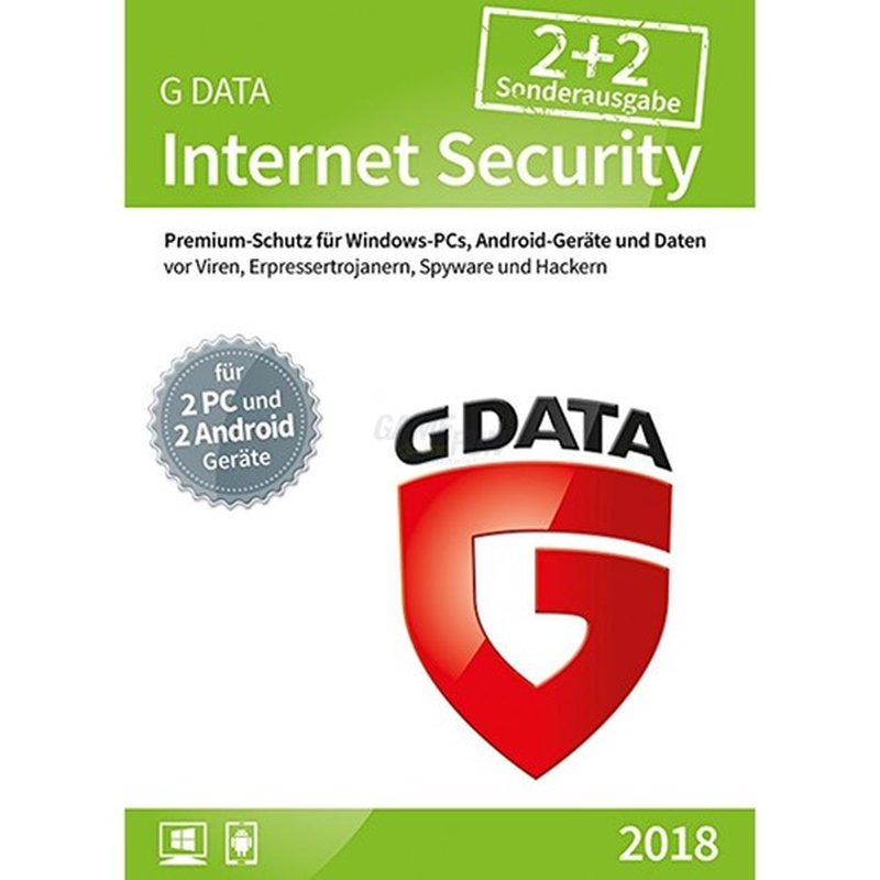 G Data Software Internet Security für Windows & Android 2 PCs + 2 Android Vollversion GreenIT 1 Jahr für aktuelle Version 2018