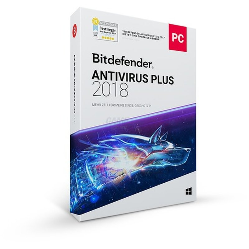 Bitdefender Antivirus Plus 3 PCs Vollversion GreenIT 1 Jahr für aktuelle Version 2018