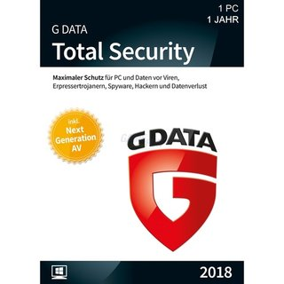 G Data Software Total Security 1 PC Vollversion GreenIT 1 Jahr für aktuelle Version 2018