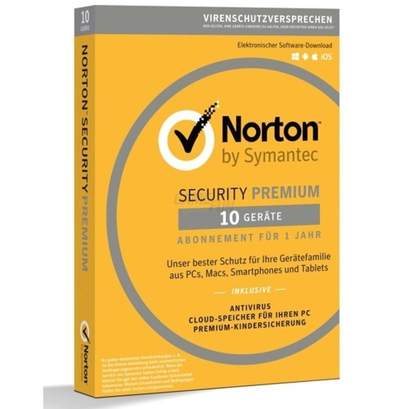 Symantec Norton Security Premium +25GB Backup 10 Geräte Vollversion PKC 1 Jahr 2018