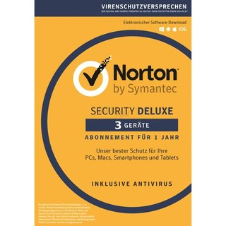 Symantec Norton Security Deluxe 3.0 3 Geräte Vollversion ESD 1 Jahr ( Download )