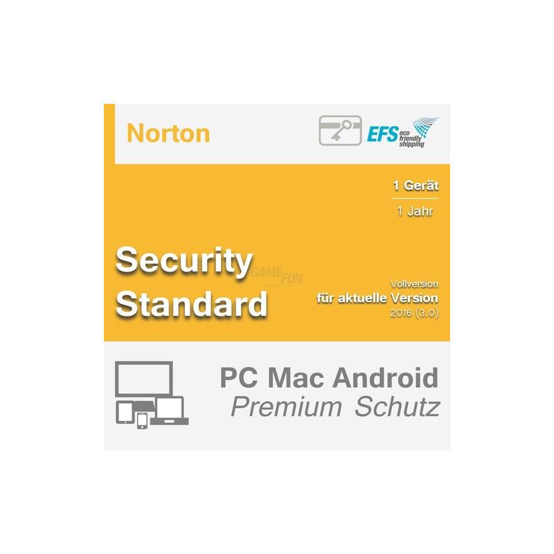 Symantec Norton Security Standard 1 Gerät Vollversion EFS PKC 1 Jahr für aktuelle Version 2016 (3.0)