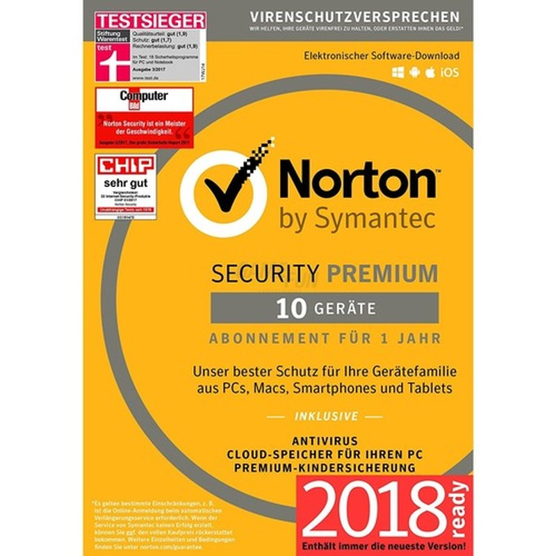 Symantec Norton Security Premium + 25GB Backup 10 Geräte Vollversion EFS PKC 1 Jahr 2018
