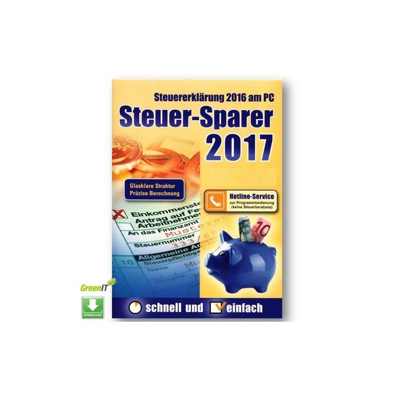 Editionnova Steuer-Sparer 2017 - Steuererklärung 2016 am PC Vollversion GreenIT
