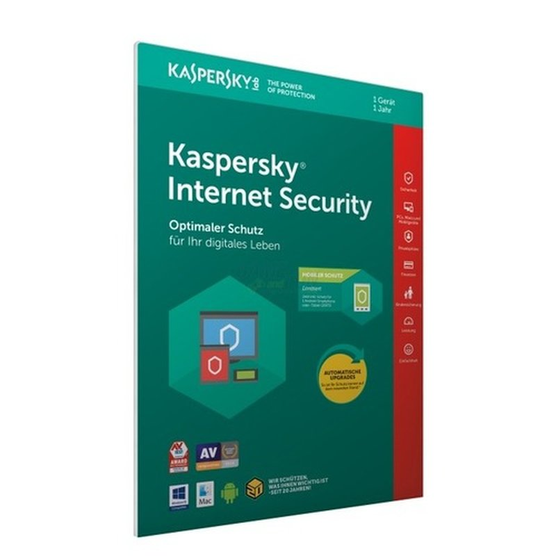 Kaspersky Internet Security 2018 (FFP) 1 Gerät + 1 Android Vollversion PKC 1 Jahr ( Code in a Box )