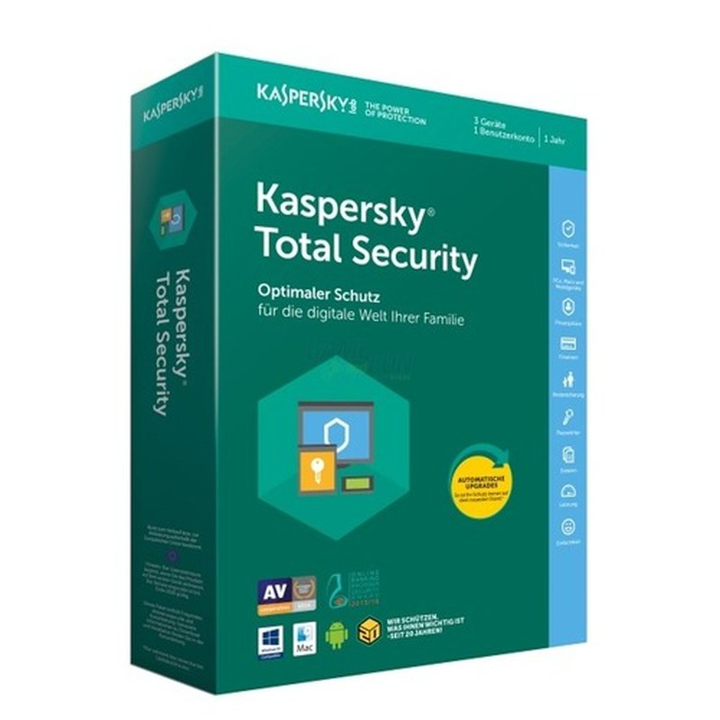 Kaspersky Total Security 2018 3 Geräte Vollversion PKC 1 Jahr ( Code in a Box )
