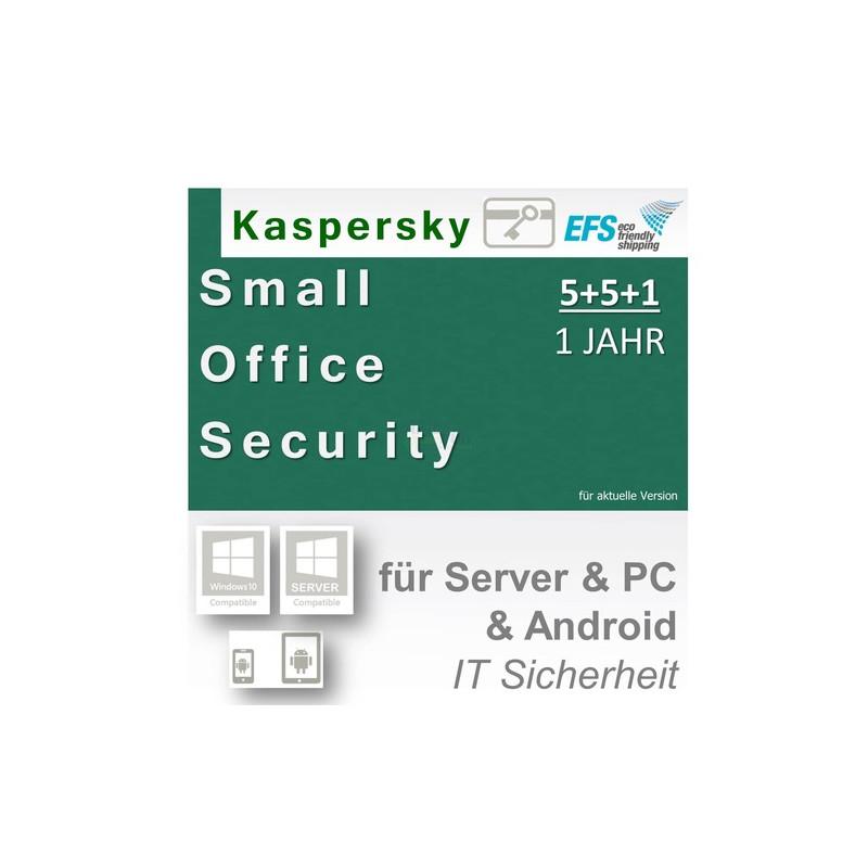 Kaspersky Small Office Security 4 inkl. 5 Mobile 1 Fileserver + 5 Workstations Vollversion EFS PKC 1 Jahr