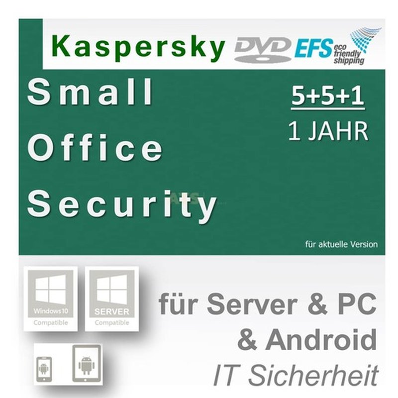 Kaspersky Small Office Security 5+5+1 WIN MAC Android 1 Fileserver + 5 Workstations Vollversion EFS DVD 1 Jahr