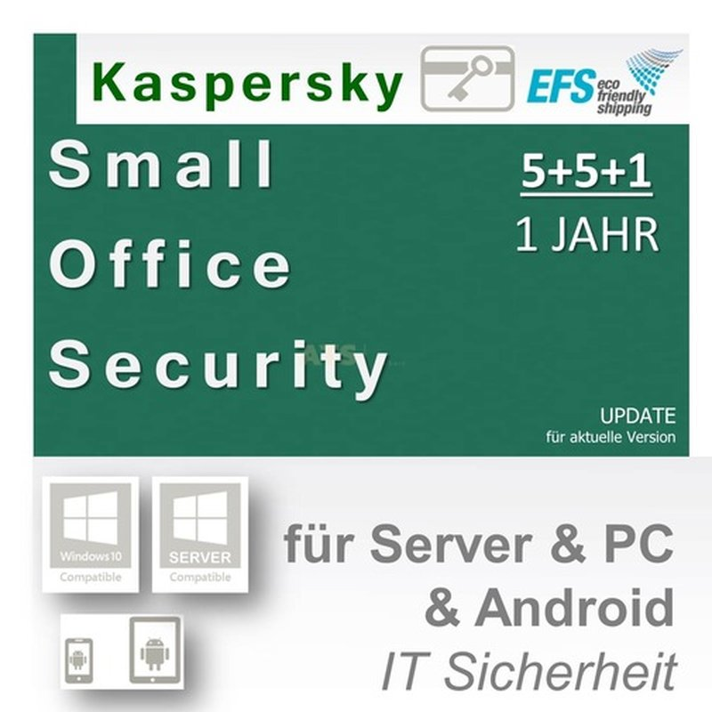 Kaspersky Small Office Security 5+5+1 WIN MAC Android 1 Fileserver + 5 Workstations Update EFS PKC 1 Jahr